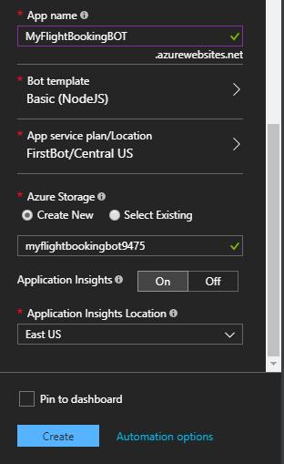 Node js: Developing a chat bot on Microsoft Azure Portal